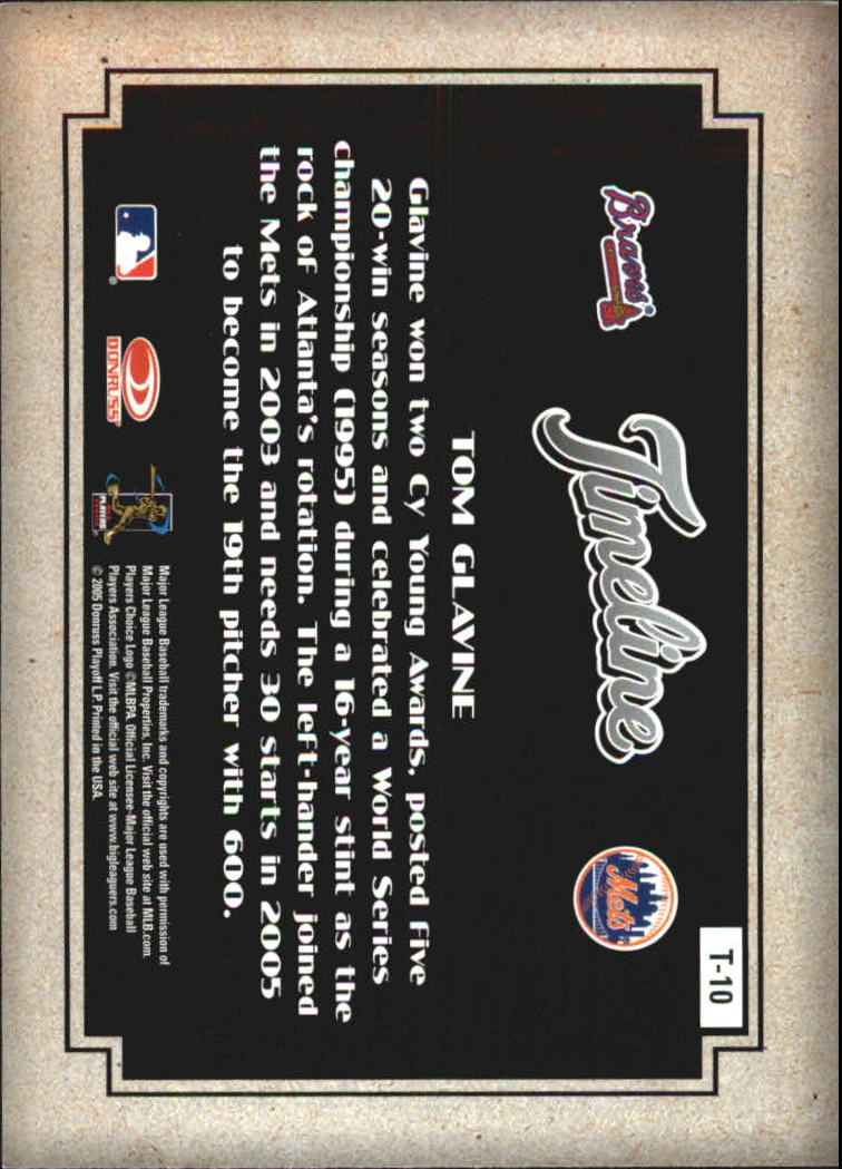 2005 Diamond Kings Timeline #10 Tom Glavine Braves-Mets back image