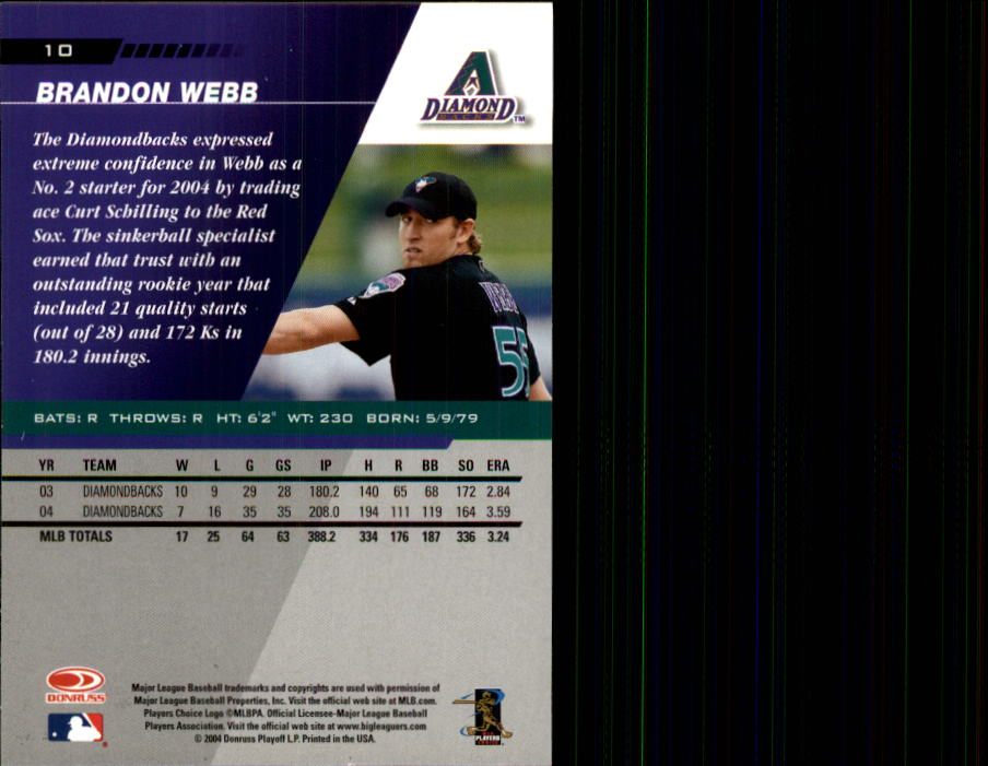 2005 Leaf #10 Brandon Webb back image