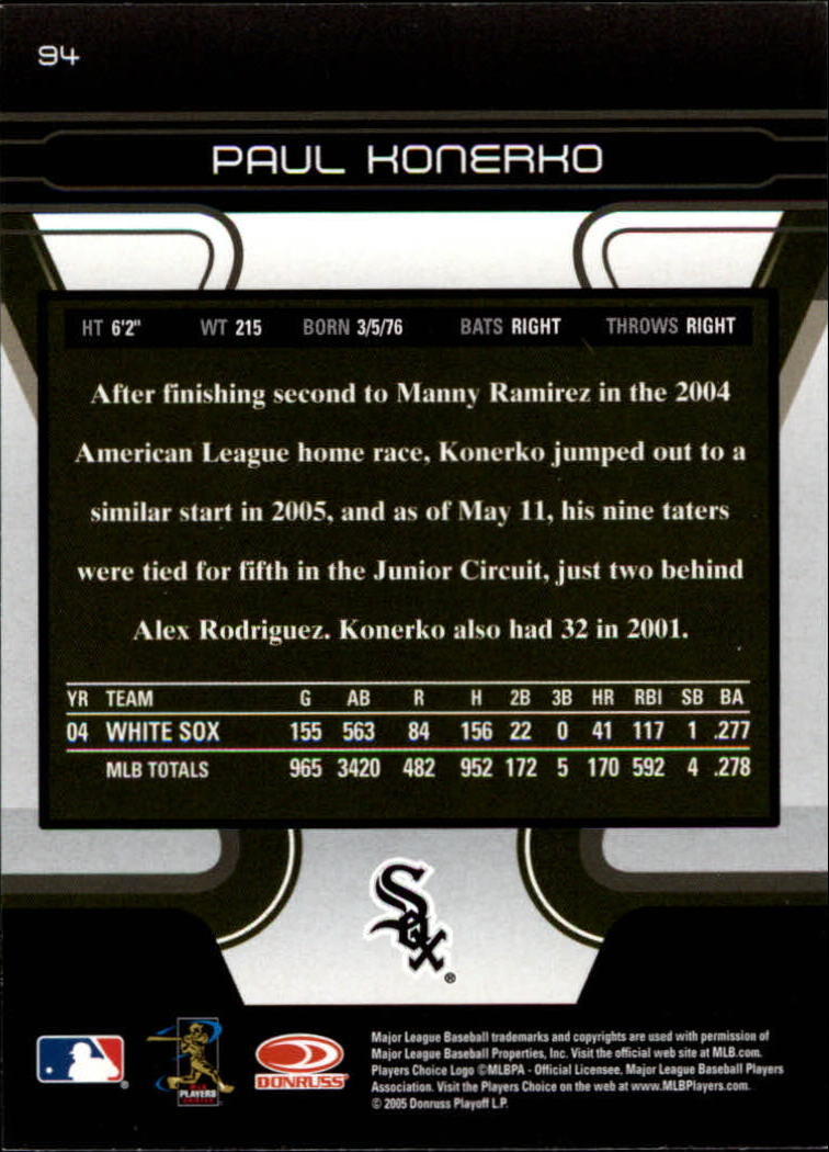 2005 Zenith #94 Paul Konerko back image