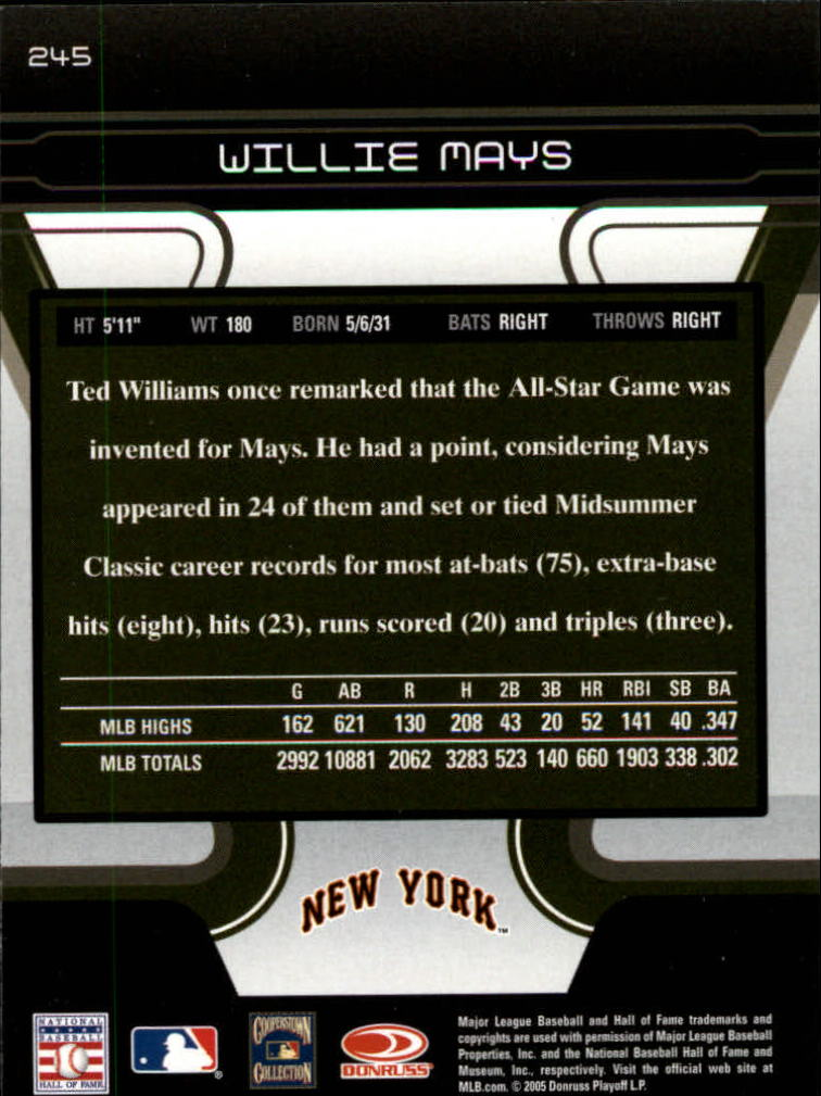 2005 Zenith #245 Willie Mays back image