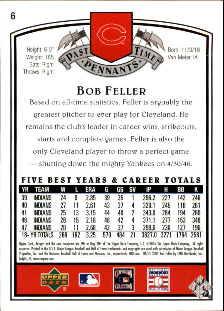2005 UD Past Time Pennants #6 Bob Feller back image
