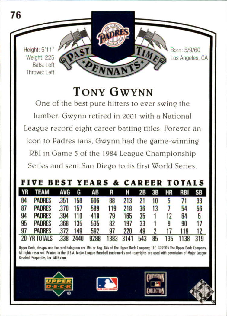 2005 UD Past Time Pennants #76 Tony Gwynn back image