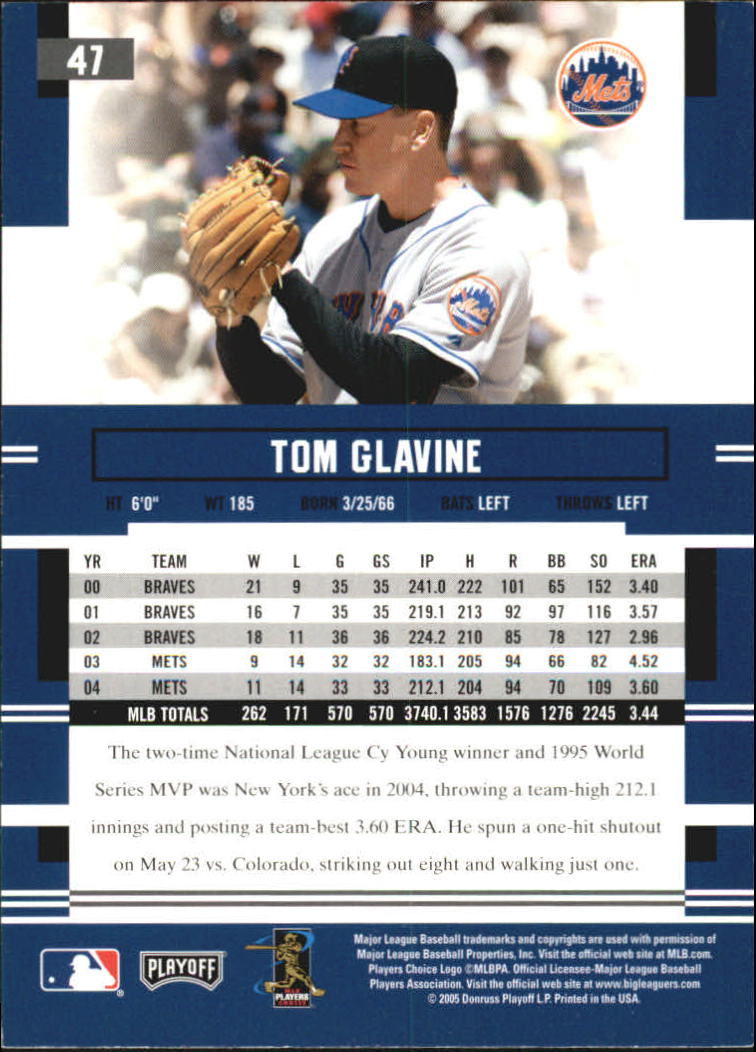 2005 Playoff Prestige #47 Tom Glavine back image