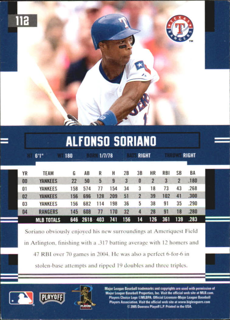 2005 Playoff Prestige #112 Alfonso Soriano back image