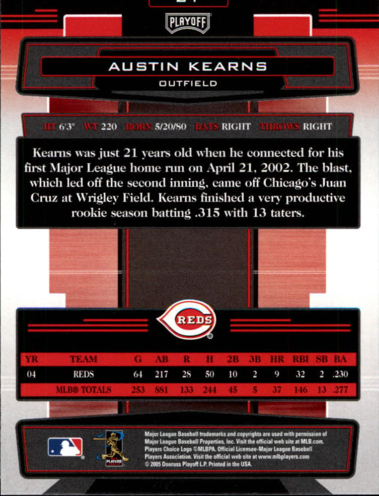 2005 Absolute Memorabilia #21 Austin Kearns back image