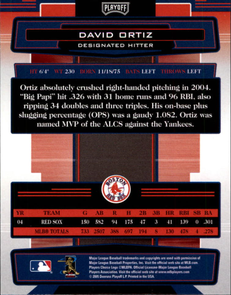 2005 Absolute Memorabilia #27 David Ortiz back image