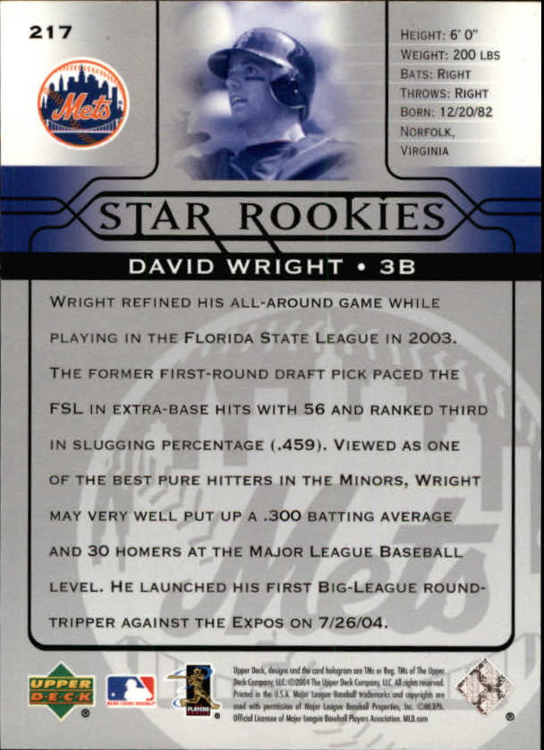 2005 Upper Deck #217 David Wright SR back image