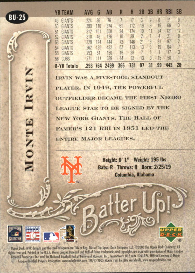 2005 Upper Deck MVP Batter Up! #25 Monte Irvin back image