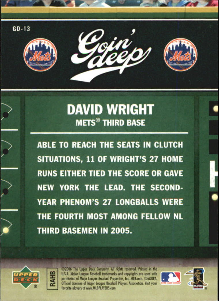2006 Upper Deck First Pitch Goin Deep #GD13 David Wright back image