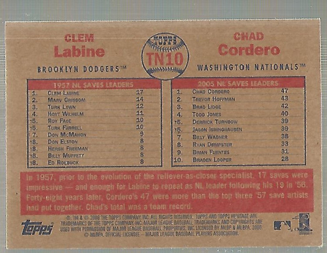 2006 Topps Heritage Then and Now #TN10 C.Labine/C.Cordero back image