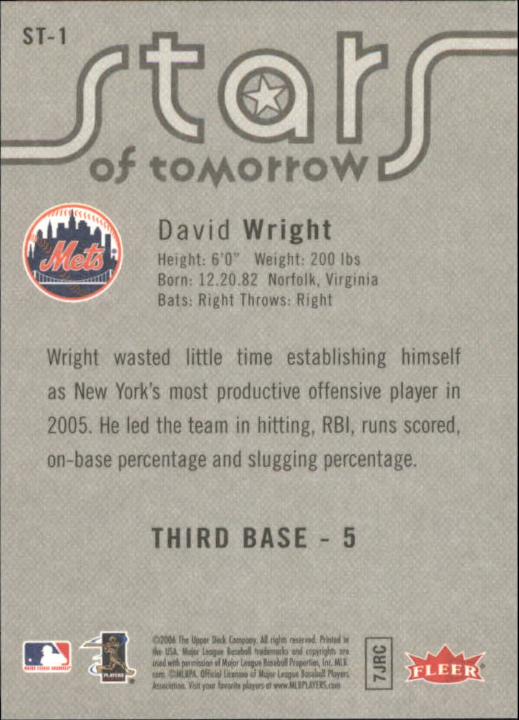 2006 Fleer Stars of Tomorrow #ST1 David Wright back image