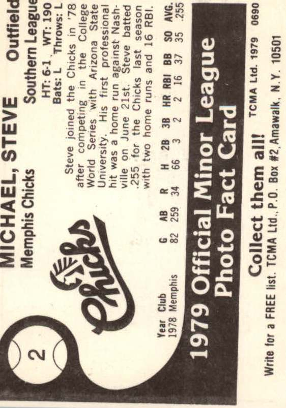 1979 Memphis Chicks TCMA #2 Steve Michael back image