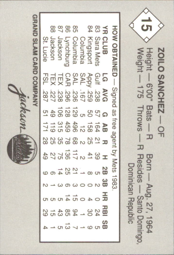 1989 Jackson Mets Grand Slam #15 Zoilo Sanchez