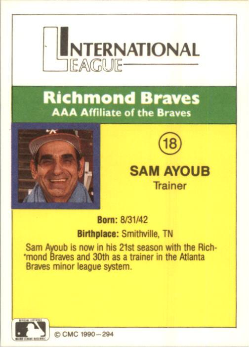 1990 Richmond Braves CMC #18 Sam Ayoub TR