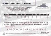 2002 Appalachian League Top Prospects Grandstand #1 Aaron Baldiris