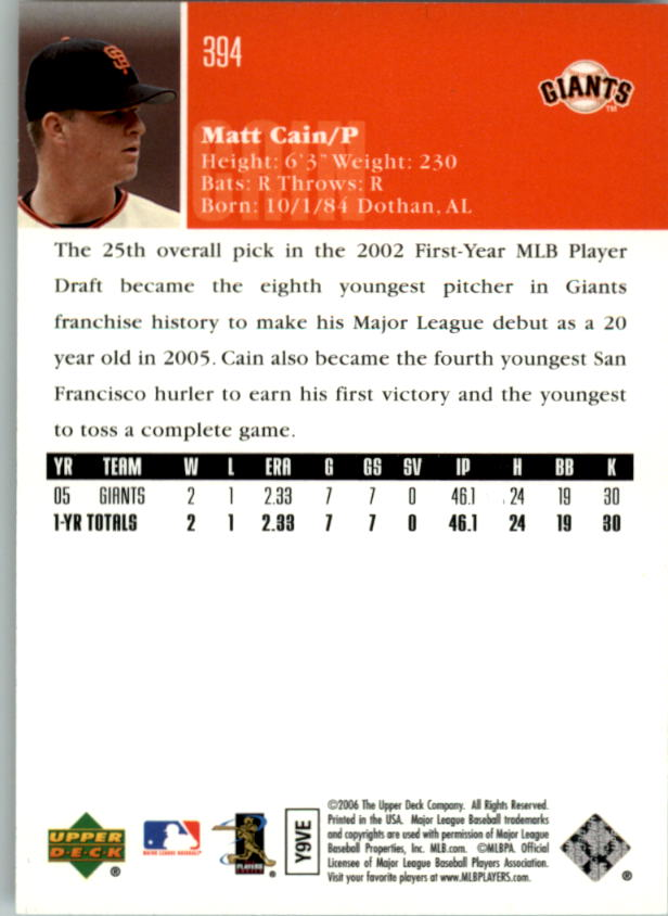 2006 Upper Deck #394 Matt Cain back image
