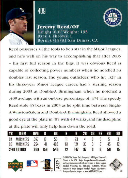 2006 Upper Deck #409 Jeremy Reed back image