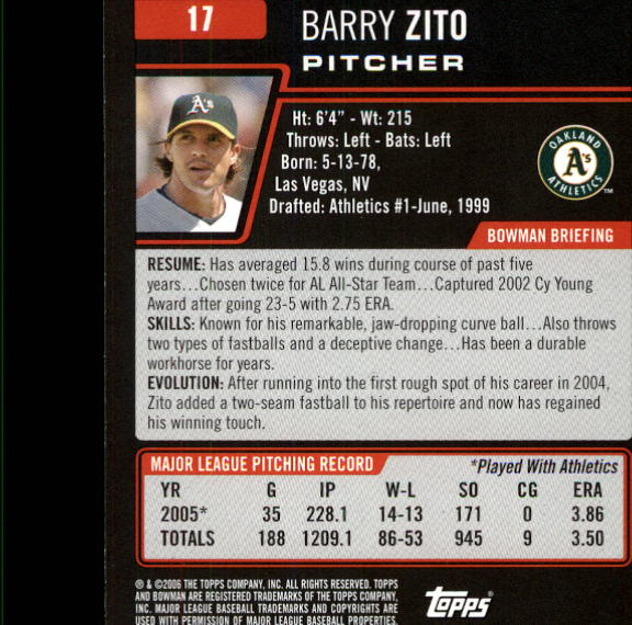 2006 Bowman #17 Barry Zito back image