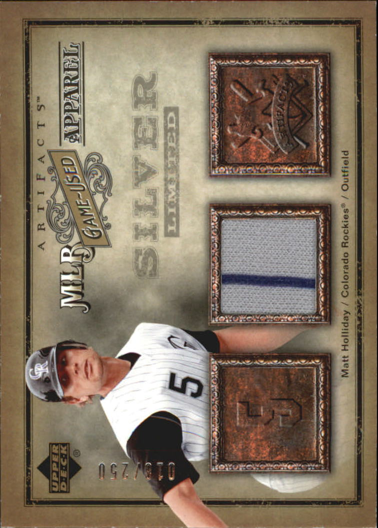 2006 Artifacts MLB Game-Used Apparel Silver Limited #MH Matt Holliday Jsy/250