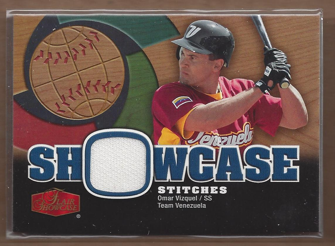 2006 Flair Showcase Stitches #OV Omar Vizquel Jsy