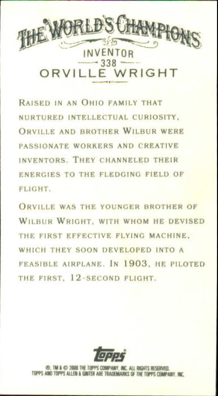 2006 Topps Allen and Ginter Mini #338 Orville Wright back image