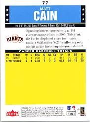2006 Fleer Tradition #77 Matt Cain (RC) back image