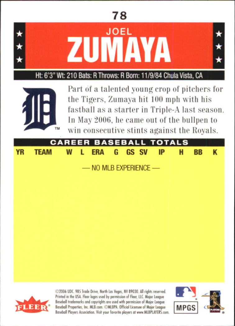 2006 Fleer Tradition #78 Joel Zumaya (RC) back image
