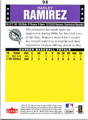 2006 Fleer Tradition #98 Hanley Ramirez (RC) back image