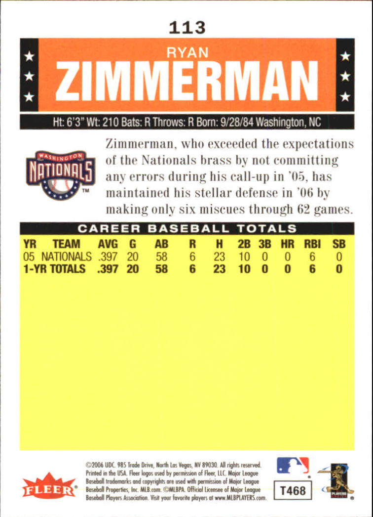 2006 Fleer Tradition #113 Ryan Zimmerman (RC) back image
