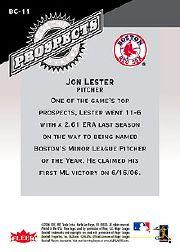 2006 Fleer Tradition Blue Chip Prospects #BC11 Jon Lester back image