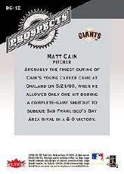 2006 Fleer Tradition Blue Chip Prospects #BC12 Matt Cain back image