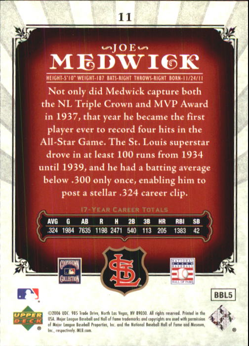 2006 SP Legendary Cuts #11 Joe Medwick back image