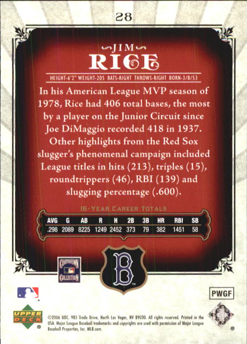 2006 SP Legendary Cuts #28 Jim Rice back image