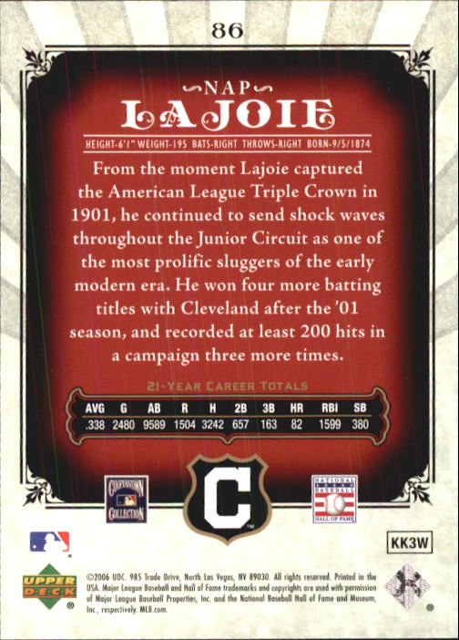 2006 SP Legendary Cuts #86 Nap Lajoie back image