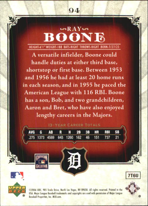 2006 SP Legendary Cuts #94 Ray Boone back image