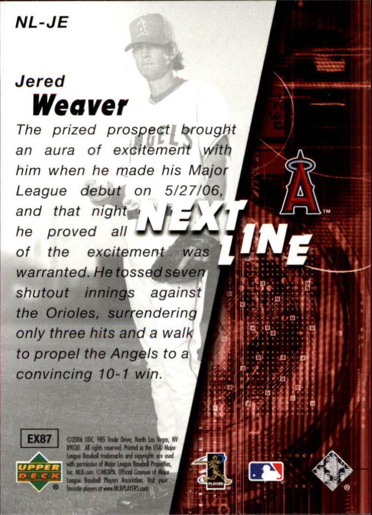 2006 SPx Next In Line #JE Jered Weaver back image