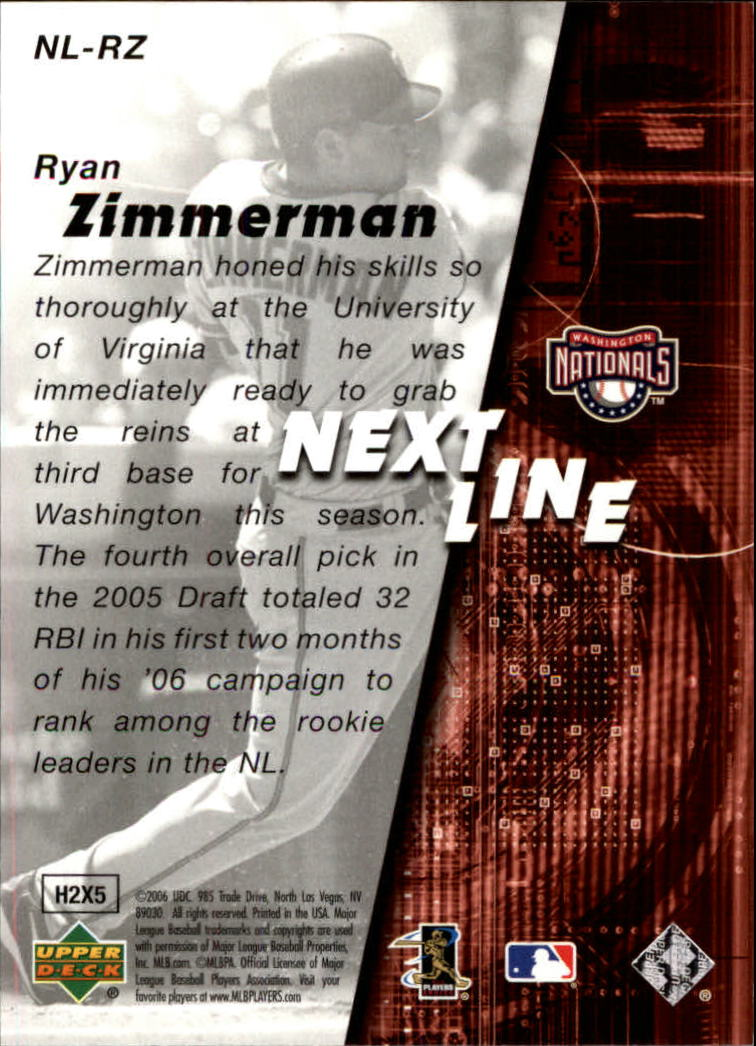2006 SPx Next In Line #RZ Ryan Zimmerman back image