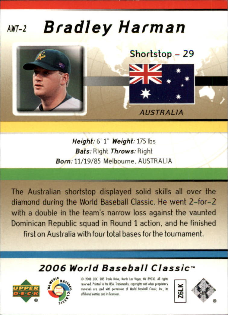 2006 SPx WBC All-World Team #2 Bradley Harman back image