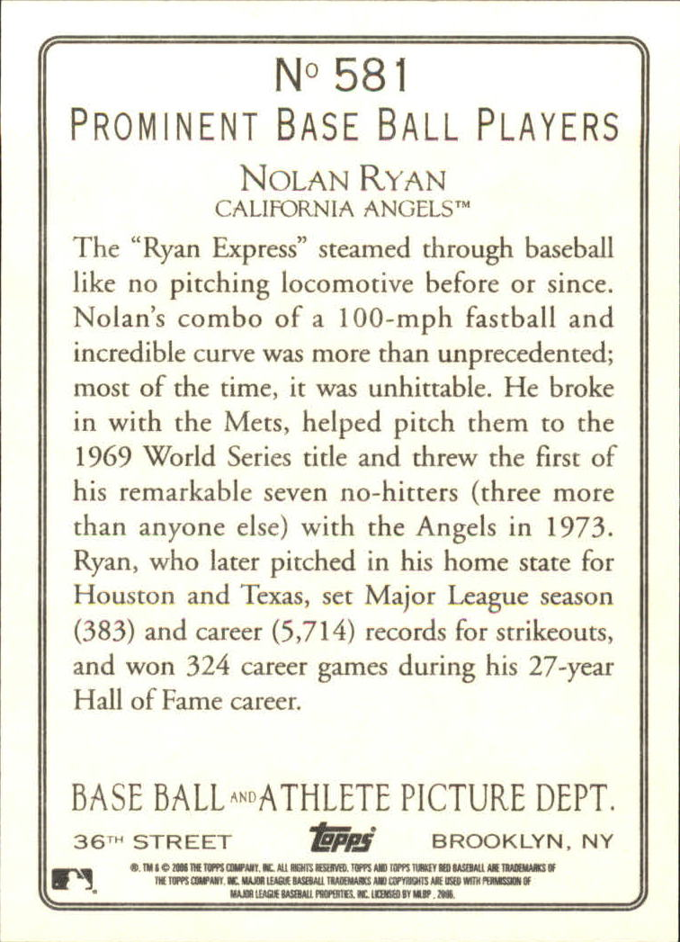 2006 Topps Turkey Red #581 Nolan Ryan RET back image