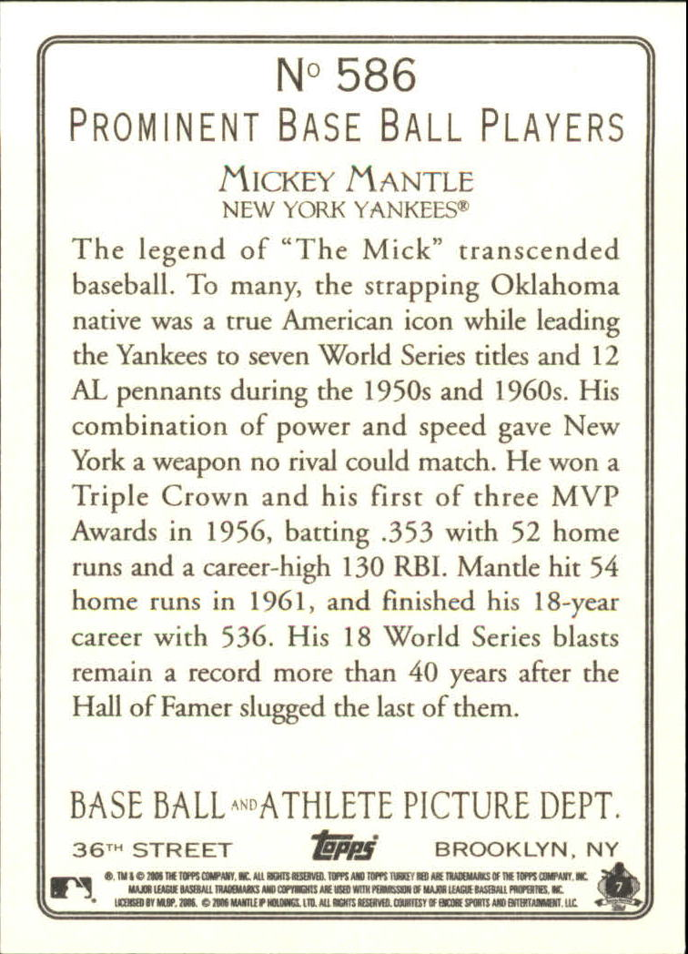 2006 Topps Turkey Red #586 Mickey Mantle RET back image