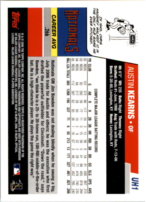2006 Topps Update #1 Austin Kearns back image