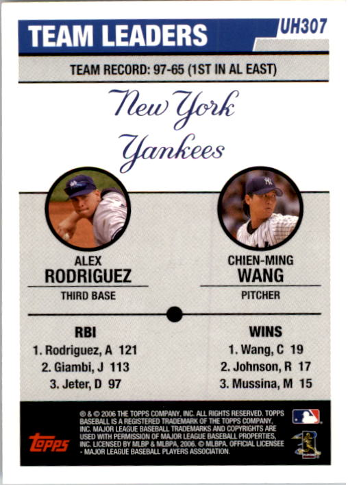 2006 Topps Update #307 A.Rodriguez/C.Wang TL back image