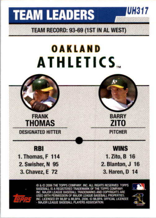 2006 Topps Update #317 F.Thomas/B.Zito TL back image