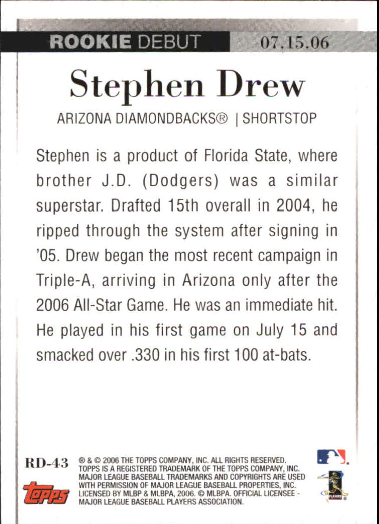 2006 Topps Update Rookie Debut #RD43 Stephen Drew back image