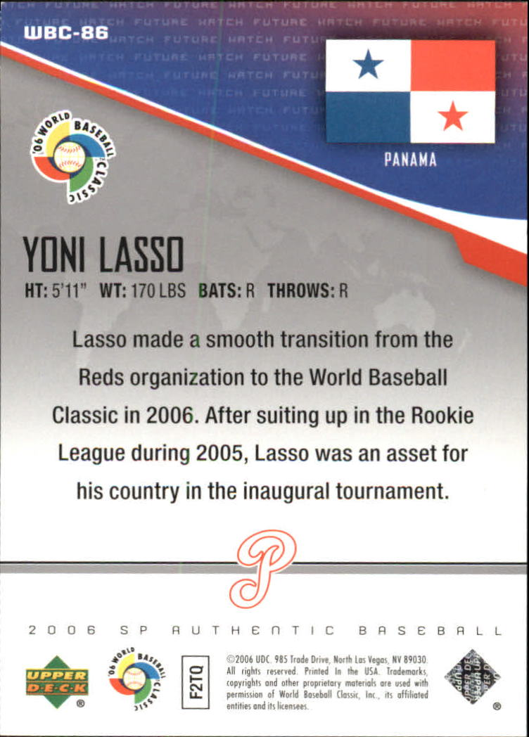 2006 SP Authentic WBC Future Watch #86 Yoni Lasso