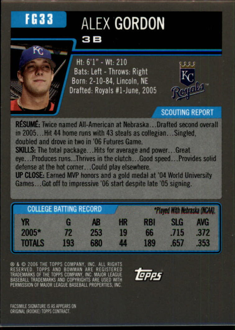 2006 Bowman Draft Future's Game Prospects Gold #33 Alex Gordon back image