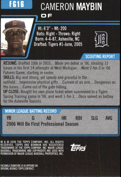2006 Bowman Chrome Draft Future's Game Prospects #16 Cameron Maybin back image