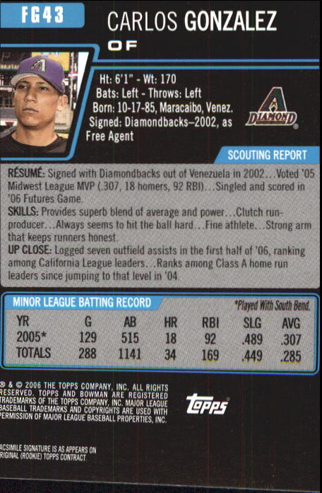 2006 Bowman Chrome Draft Future's Game Prospects #43 Carlos Gonzalez back image