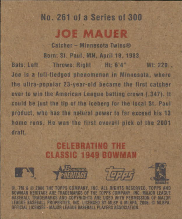 2006 Bowman Heritage Mini #261 Joe Mauer back image