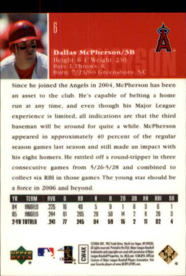 2006 Upper Deck Special F/X Green #6 Dallas McPherson back image